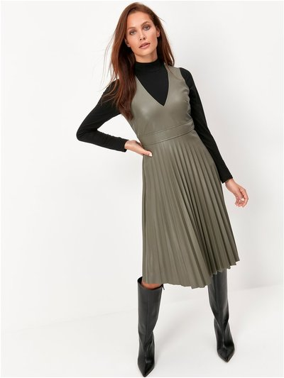 Pu Pleated Dress