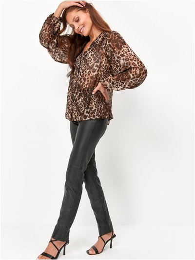 V Neck Leopard Blouse